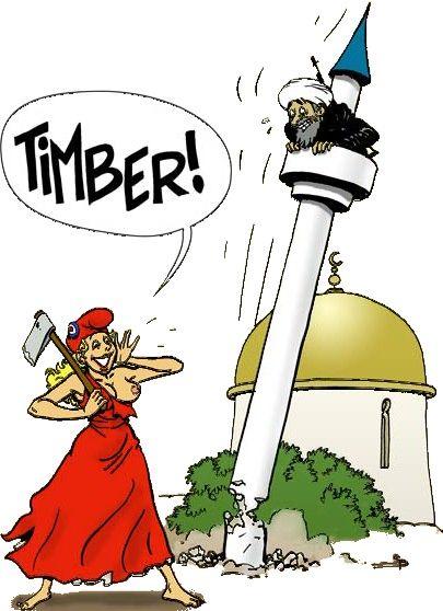 Marianne abattant à la hache un minaret et criant TIMBER !